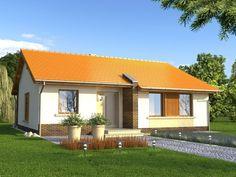 Dom będzie tani w realizacji dzięki prostej konstrukcji bez stropu i przekryciu ekonomicznym dachem dwuspadowym.