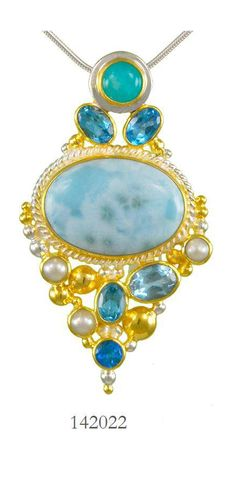 Larimar, Amazonite, Blue Topaz, Teal Topaz and Fresh Water Pearl - Cascade Collection pendant