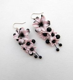 Pink black Lilies Flower earrings Lily earrings by insoujewelry, $30.00