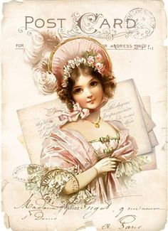 Vintage Pink Girl French Postcard Graphic Image Art Fabric Block Doodaba Love vintage design and ideas? ArtyQuote Canvas Art & Apparel was made for you!Check out our canvas art, prints & apparel in store, click that link !