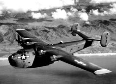 Consolidated PB2Y Coronado in flight 1944 to 1945. Note the twin tails with shapes similar to the Consolidated B-24 Liberator.