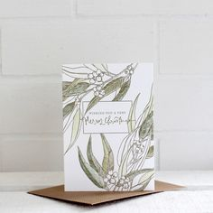 Letterpress Christmas Card - Merry Christmas – Each card has been individually watercoloured by hand and features beautiful hand drawn botanical illustrations of Australian natives. Birds of a Feather - A Letterpress Co.