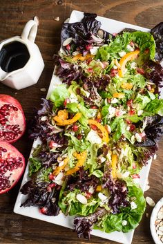 This festive holiday pomegranate salad is packed with crunchy pomegranates, goat cheese and crunchy yellow peppers. We drizzle it with balsamic honey dressing.