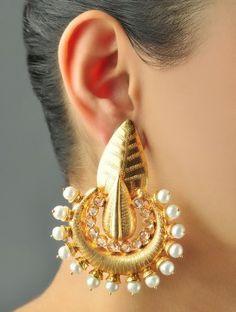 Ethnic Leaf Cubic Zirconia Earrings