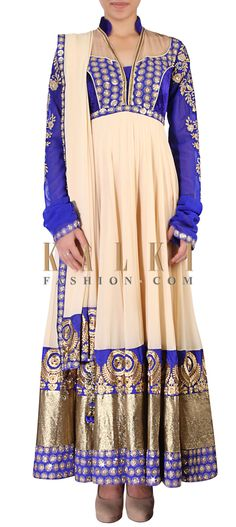 Buy Online from the link below. We ship worldwide (Free Shipping over US$100) http://www.kalkifashion.com/beige-anarkali-suit-adorn-in-zari-and-resham-embroidery-only-on-kalki.html