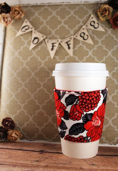 Red Flowers Coffee Cozy - Flowers Coffee Cozy - Coffee Cozy - Fabric Coffee Cozy - Tea Cozy by SewLoveToSew on Etsy