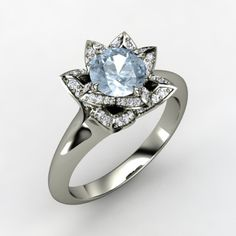 Round Aquamarine 14K White Gold Ring with Diamond | Lotus Ring | Gemvara