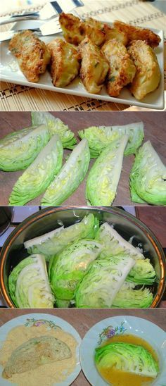 Does not redirect to a website, and looks like Russian recipe. Photos are self explanatory. Will use low-carb crumb mix wirh Parmesan. Cabbage Recipes, Vegetable Recipes, Vegetarian Recipes, Cooking Recipes, Healthy Recipes, Manger Healthy, Good Food, Yummy Food, Healthy Eating