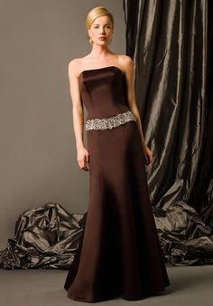 Appealing Brown Flat A-line Sash Beading Floor Length Satin Mother of Groom Dresses ,Mother of Bride Dresses,
