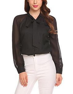 1537af1f0bd6b5 Damen Bluse Lang Sommer Oberteile Business Chiffon Elegant Hemd Tunika T- Shirt Schwarz
