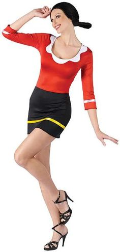 Fun World Women's Popeye-Sexy Olive Oyl Costume, Multi, Small/Medium: Officially licensed olive oyl dress made with body hugging spandex for a sexier look on an old classic. Popeye Y Olivia Disfraz, Popeye E Olivia, Adult Costumes, Costumes For Women, Cosplay Costumes, Halloween Costumes, Halloween Diy, Trendy Halloween, Olive Oyl Costume
