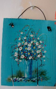 Items similar to Reclaimed Wood Painting Original Hand Painted Rustic Floral Turquoise Aqua Wall Art Decor on Etsy