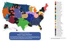 """2014 Major League Baseball Opening Day is here. A map by the Facebook data team that shows where baseball fans live based on which team they """"like."""" Each county is color-coded based on which official MLB team page has the most Facebook likes from people who live in that county. source: https://www.facebook.com/photo.php?fbid=10152314537652457 #MLB #baseball"""