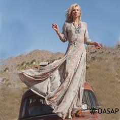 Vintage Printing Elastic Waist Slit Dress