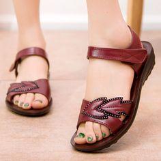 #Valentines #AdoreWe #BerryLook - #berrylook Flat  Ankle Strap  Peep Toe  Casual Date Sandals - AdoreWe.com Flat Sandals, Shoes Sandals, Flats, Peep Toe, Casual Date, Low Wedges, Summer Sandals, Green Fashion, Designer Shoes