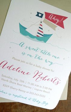 Nautical Baby Shower Invitations, Paper Sailboat Nautical Shower Invitation, Boat Baby Shower (Set of 12)
