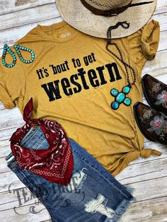 The saying we heard growing up from our parents and grandparents letting us know things were about to get a little crazy! The saying we heard growing up from our parents and grandparents letting us know things were about to get a little crazy! Country Shirts, Western Shirts, Western Wear, Western Style, Cowgirl Style, Cowgirl Tuff, Western Sayings, Rodeo Shirts, Cowgirl Bling