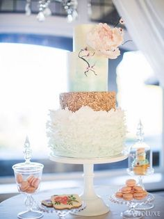 wed luxe wedding desserts | Spring Styled Shoot as seen in Wedluxe - Cecil Green Park House
