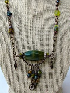 wire wrapped necklace with bohemian influenced ...