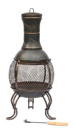 Steel chimenea with mesh belly. This patio heater has a complete mesh belly so that everyone can enjoy the warmth of this chimenea and see the fire too.We recommend covering your chimenea when not in use or bringing indoors to prolong the life of your chimenea.Steel heats up very quickly, an ideal material for a chimenea.