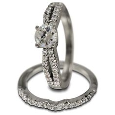 Modern Two Piece Engagement Setting For Half Ct Round Diamond -    This is a chic modern wedding set in 14K white gold. This well-designed two piece ring set is both simple and sophisticated at the same time! Our rings have thick and durable shanks which will give many years of trouble-free wear.