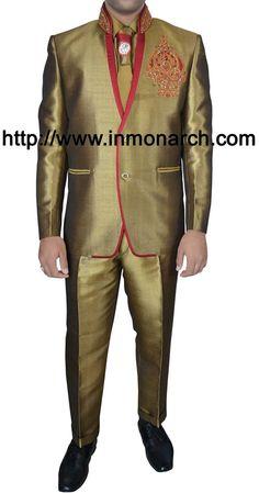6e9cb1d15cd0 Modern look jodhpuri suit made in golden color linen jute fabric. It has  bottom as trouser. InMonarch
