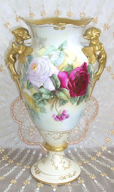 Hand painted vase-Limoges