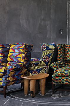 Name: Wingback Chair Manifacture: Josef Wingback, Anthropologie Interesting Fact: Made using African Wax Fabric African Interior Design, African Design, African Style, African Textiles, African Fabric, African Prints, Ethno Design, African Furniture, African Home Decor