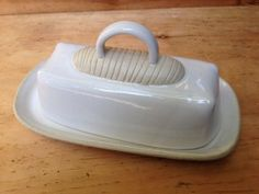 White Ceramic Butter Dish handmade one of a kind by DotDotWorkshop, $40.00