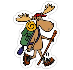 Shop Funny Moose Hiking Cartoon Sticker created by naturesmiles. Bumper Stickers, Custom Stickers, Laptop Stickers, Funny Moose, Cartoon Stickers, Watercolor Cards, Sticker Design, Funny Animals, Original Art