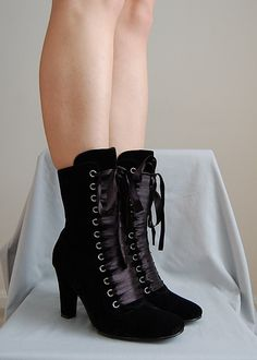 Black Velvet Gothic Tall Boot with Ribbon Laces by CastleDeNoir, $67.90