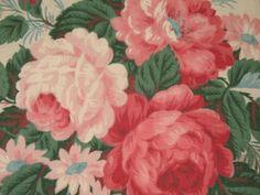 rose barkcloth--shabby chic