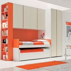 'Red' Kid's bedroom set with triple trundle bed by Clever : Beds & cribs by My Italian Living Bunk Bed With Desk, Cool Bunk Beds, Bunk Beds With Stairs, Kids Bunk Beds, Kids Bedroom Sets, Boys Room Decor, Bedroom Furniture Sets, Compact Furniture, Kids Room