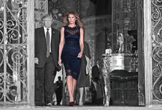 On Saturday night, President Donald Trump and first lady Melania Trump hostedJapan's Prime Minister Shinzō Abe and his wife, Akie Abe, at Mar-a-Lago for dinner.  Melania wore a sleeveless black dress with a low-dipping back and a layer of lace on top.