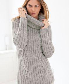 Пуловер, выполненный резинкой и косами, схема вязания на сайте Люди Вяжут