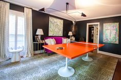 That laminated ping pong table -- to die for! One Room Challenge Spring 2015: The Ping Pong Emporium Reveal / The English Room