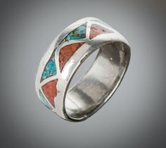 inlaid turquoise & coral sterling band size 6 3/4 by SearchEndsHere on Etsy