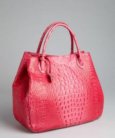 FURLA Rose Croc Embossed Leather 'New Giselle' Shopper Tote