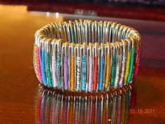 Made to order.   Safety Pin Bracelet Cuff on elastic by gr8byz, $28.00 #circle1 #bizrt #handmadebot