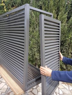 Hiding an air conditioner can have many practical options and . Air Conditioner Cover Outdoor, Fence Gate Design, Steel Security Doors, Aluminum Screen, Outdoor Cover, Canopy Outdoor, Terrace Garden, Pool Landscaping, Outdoor Projects