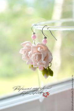 """Серьги ручной работы. Ярмарка Мастеров - ручная работа. Купить Серьги """"Нежные розы"""". Handmade. Бледно-розовый, серьги"""