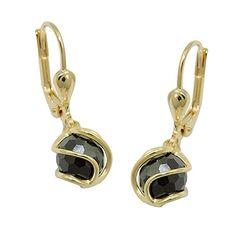 GOLD Jewellery Leverback Earrings with Zirconia Ball Black Stone Hook Luxury Jewelry, Gold Jewelry, Screw Back Earrings, Stud Earrings, Cubic Zirconia Earrings, Ear Studs, Kugel, Cufflinks