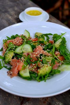 Smoked salmon/avocado/cucumber salad. ** VERY GOOD, but I added salt and it made it too salty with the smoked salmon and smoked sesame oil that I used.