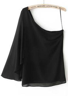 Black One-Shoulder Asymmetrical Chiffon Blouse US$31.97
