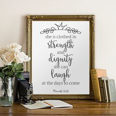 She Is Clothed In Strength And Dignity Nursery Wall Art Bible Verse Christian Proverb 31 Scripture BD 185