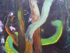Tämä teos on ripustusvalmis. Leikkisä maalaus kahdesta käärmeestä, sopii vaikka makuuhuoneeseen! ;)
