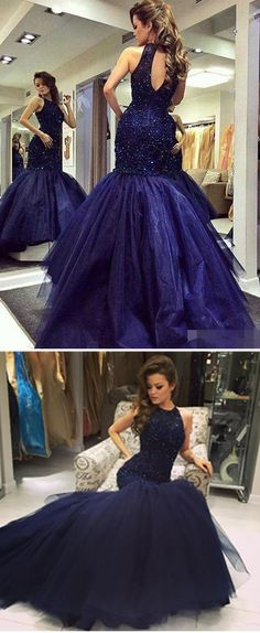 Luxury Navy Blue Beaded Prom Dresses Sexy Open Back Jewel Neck Mermaid Evening Party Gowns Sweep Train Tulle Special Occasion Dress 2017 Uk Prom Dress Unusual Prom Dresses