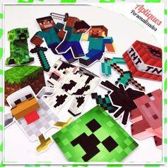Minecraft Apliques, Tags E Toppers R$0,35 Unidade - R$ 17,50 em Mercado Livre