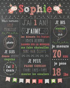 Affiche personnalisée 1er anniversaire par MOMYboutique sur Etsy