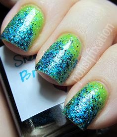 Another blue & green mani. Base is Deborah Milano 837, then sponged Sneeze Breeze (indie brand The Hungry Asian on Etsy) onto the tips and most of the way down the nails.  From: Polish Fixation: Sneeze Breeze #blue_and_green #gradient #sponged